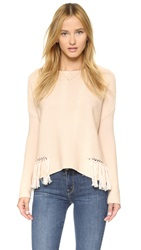 Ramy Brook Kelly Embellished Fringe Sweater Blush