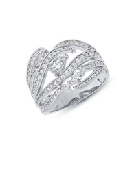 Crislu Designer Couture Cubic Zirconia Platinum And Sterling Silver Sheer Style Ring