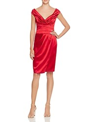Kay Unger Satin Wrap Effect Dress Berry