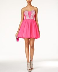 As U Wish Juniors' Strapless Jewel Embellished A Line Dress Pink