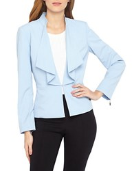 Tahari By Arthur S. Levine Plus Ruffle Front Jacket Blue Ice