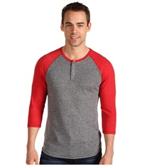 Alternative Apparel 3 4 Raglan Henley Eco Grey True Red Men's Long Sleeve Pullover