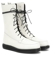 The Row Patty Leather Ankle Boots White