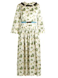 Toga Floral Print Contrast Ribbon Satin Dress Ivory Multi