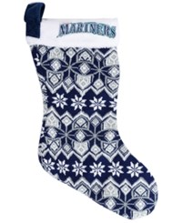 Forever Collectibles Seattle Mariners Ugly Sweater Knit Team Stocking Navy