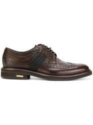 Versace Brogues With Greek Key Side Panels Leather Rubber Brown