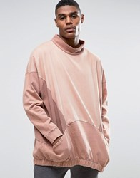 Asos Oversized Longline Funnel Neck Sweatshirt With Cut And Sew And Woven Pocket Burnt Auburn Beige