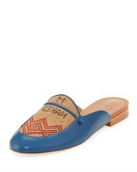 Malone Souliers Neva Leather And Textile Flat Mule Blue