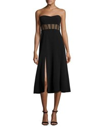 Cinq A Sept Honora Bustier Midi Dress Black