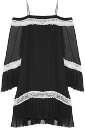 Alice Olivia Willie Cold Shoulder Lace Trimmed Silk Chiffon Mini Dress Black