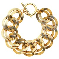 Monet Textured Double Chain Bracelet Gold