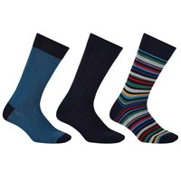 John Lewis Made In Italy Multi Stripe Birdseye Socks Pack Of 3 Navy Multi