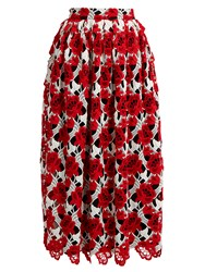 House Of Holland Floral Lace Midi Skirt Red White