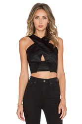 L'agence Criss Cross Front Crop Top Black