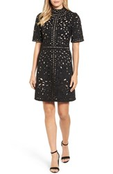Kas New York Mari Hand Cut Faux Suede Dress Black