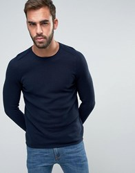 Boss Orange By Hugo Mesh Knit Jumper Slim Fit Navy