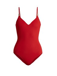On The Island Clip Front V Neck Swimsuit Red