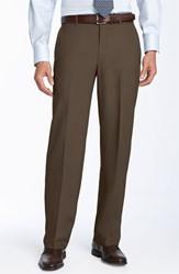 Ballin Men's Stain Resistant Flat Front Trousers Saddle