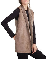 Velvet By Graham And Spencer Faux Fur Faux Suede Vest Grey