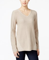 Styleandco. Style Co. Cable Knit V Neck Sweater Only At Macy's Hammock Heather Black