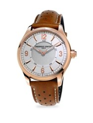 Frederique Constant Smart Stainless Steel And Leather Strap Watch Rose Gold
