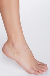 14K Yellow Gold Starfish Charm Anklet Metallic