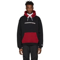 Alexander Wang Black And Red Compact Fleece Two Toned Logo Hoodie