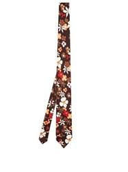 Prada Floral Print Silk Twill Tie Brown Multi
