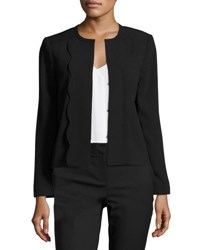 Cynthia Steffe Scallop Trim Crepe Jacket Black