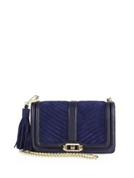 Rebecca Minkoff Love Quilted Leather And Suede Crossbody Bag Moon