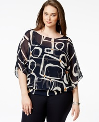 Alfani Plus Size Flutter Sleeve Banded Hem Top Only At Macy's Blue Multi