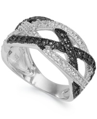 Victoria Townsend Sterling Silver Black 1 4 Ct. T.W. And White Diamond Accent Crisscross Ring