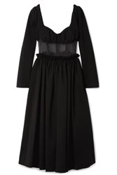 Rosie Assoulin Paneled Jersey And Silk Organza Midi Dress Black