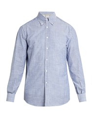 Brunello Cucinelli Button Down Collar Striped Cotton Shirt Blue Multi