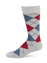 Saks Fifth Avenue Made In Italy Cotton Blend Stretchable Argyle Socks Red