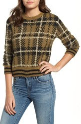 Bp. Plaid Sweater Olive Italy Brushed Plaid
