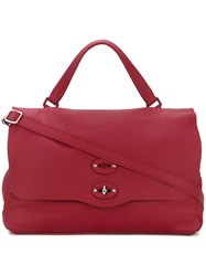 Zanellato Medium Foldover Tote Calf Leather Red