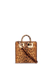 Sophie Hulme 'Albion Square' Leopard Print Leather Box Tote Animal Print