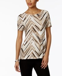 Jm Collection Printed Jacquard Top Only At Macy's Neutral Paint Crest