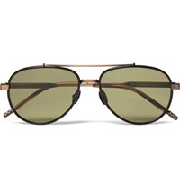 Bottega Veneta Aviator Style Tortoiseshell Acetate And Titanium Sunglasses Brown
