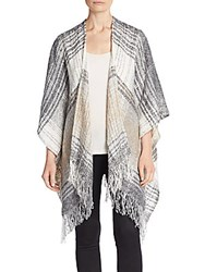 Saks Fifth Avenue Plaid Boucle Shawl Ivory