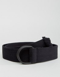 Asos Slim Black Woven Belt With Raw End Black