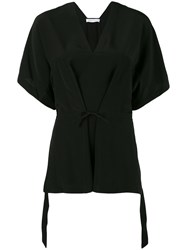 Christian Wijnants Crepe Tie Front Top Women Silk Crepe 36 Black