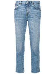 Mauro Grifoni Frayed Cropped Jeans Blue