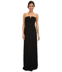 Donna Morgan Strapless Lace Long Gown Black Women's Dress