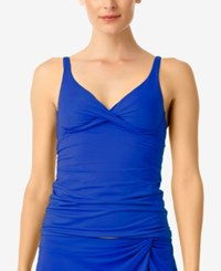 Anne Cole Ruched Bra Sized Tankini Top Women's Swimsuit Blueberry