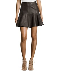 Halston Heritage Flared Leather Skirt Earth