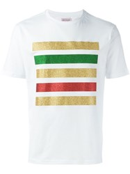 Palm Angels Glitter Stripe T Shirt White