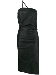 Romeo Gigli Vintage Draped Asymmetric Midi Dress Black
