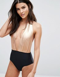 South Beach Printed Contrast Plunge Swimsuit Metallic Black Copper